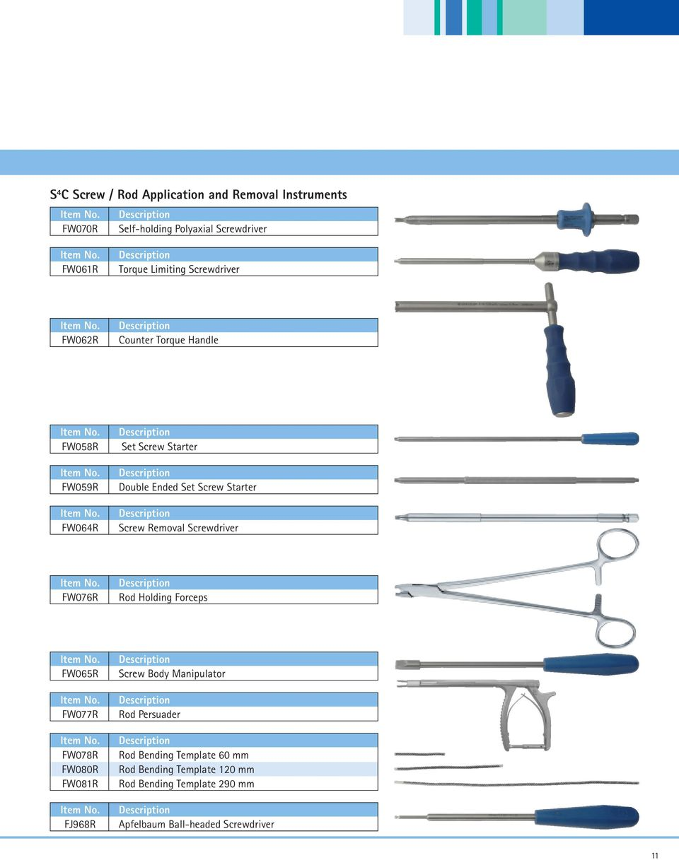 Removal Screwdriver FW076R Rod Holding Forceps FW065R FW077R FW078R FW080R FW081R FJ968R Screw Body Manipulator Rod