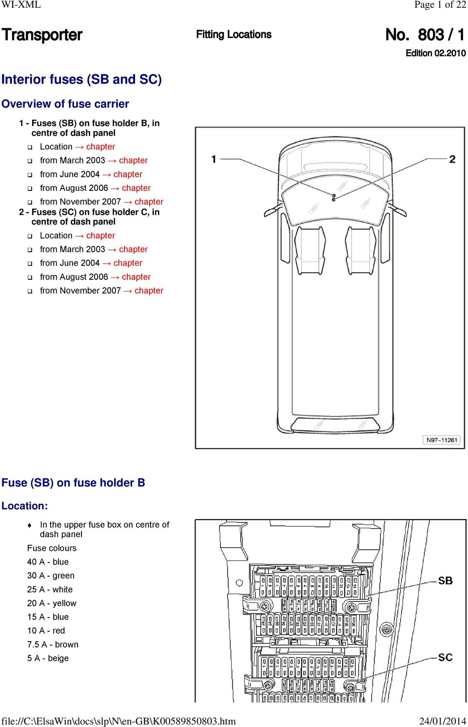 2012 Chevy Traverse Fuse Box Location Transporter Fitting Locations No 803 1 Pdf Chapter From August 2006 November 2007 2 Fuses Sc On