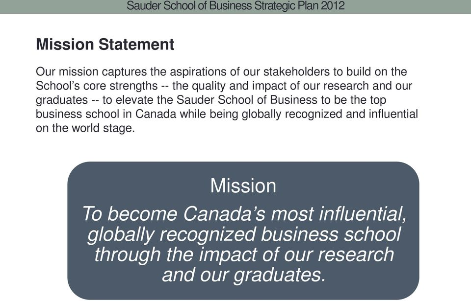 top business school in Canada while being globally recognized and influential on the world stage.