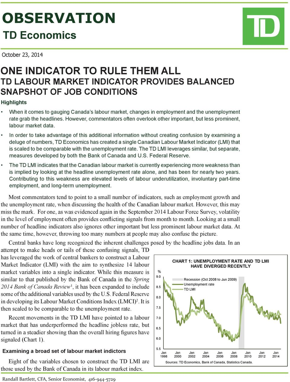 In order to take advantage of this additional information without creating confusion by examining a deluge of numbers, TD Economics has created a single Canadian Labour Market Indicator (LMI) that is