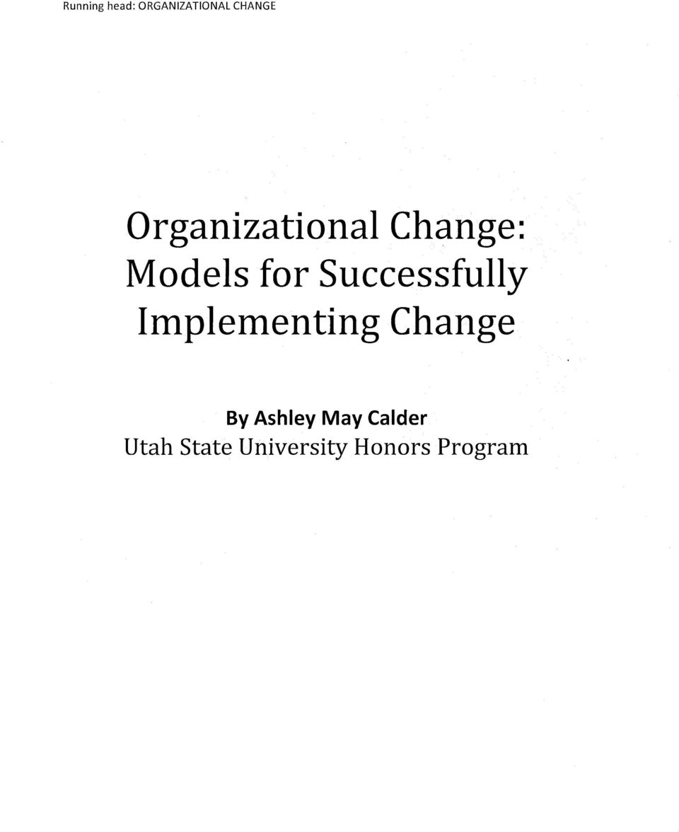 Successfully Implementing Change By