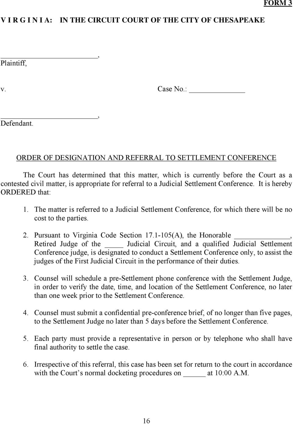 form 17a settlement conference brief pdf