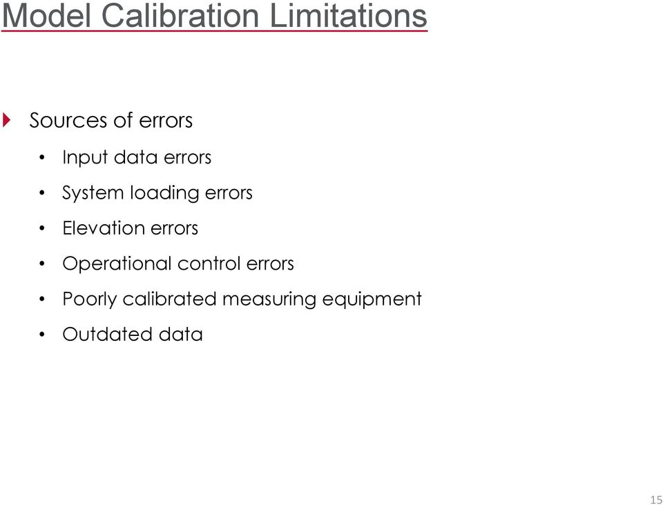 Elevation errors Operational control errors