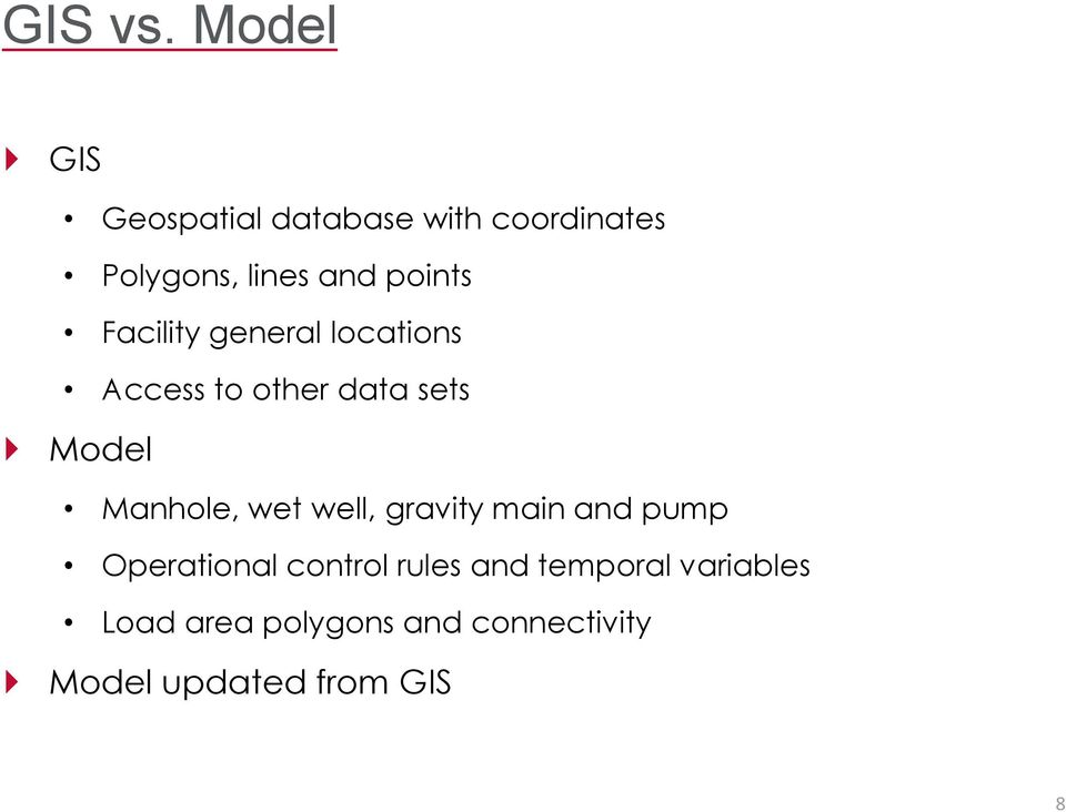 points Facility general locations Access to other data sets Model