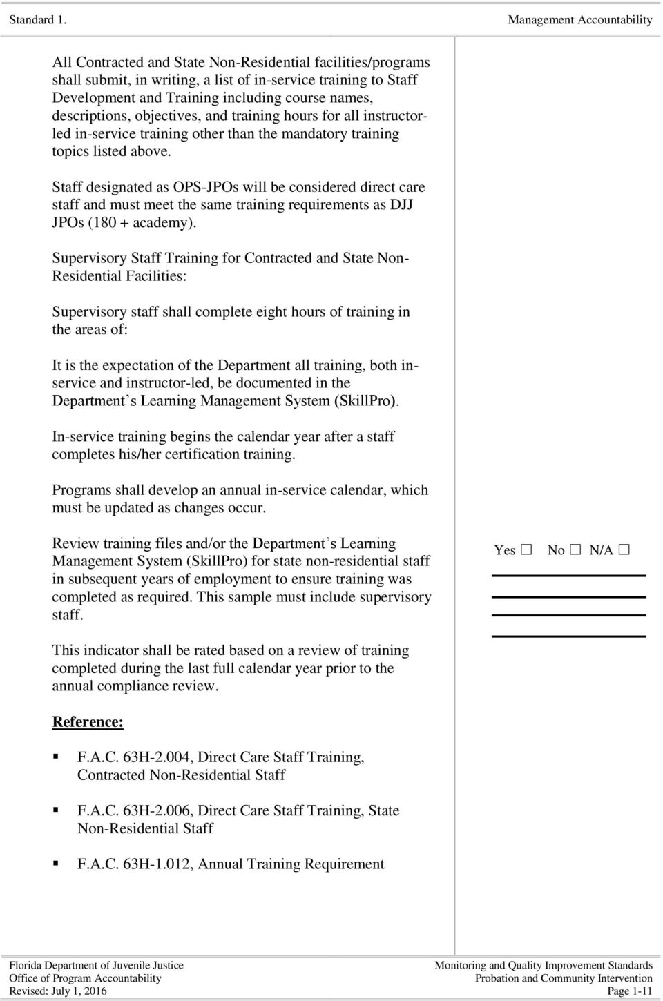 Monitoring and Quality Improvement Standards for - PDF
