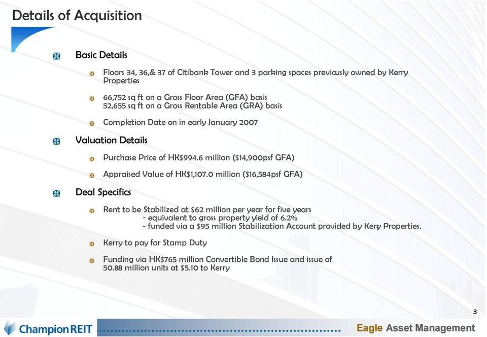 6 million ($14,900 psf GFA) Appraised Value of HK$1,107.