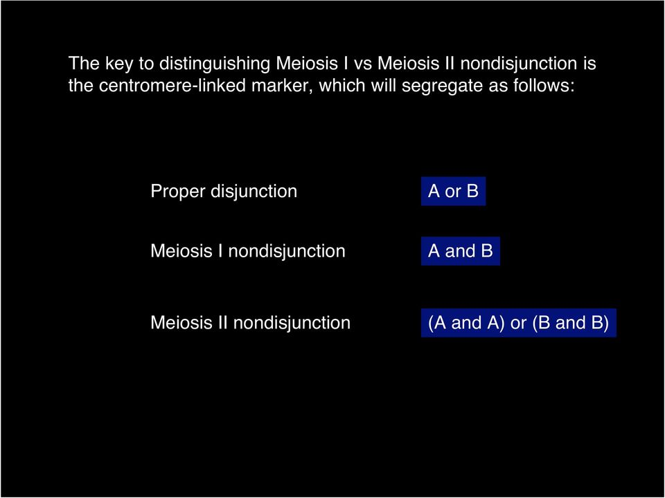 segregate as follows: Proper disjunction A or B Meiosis I