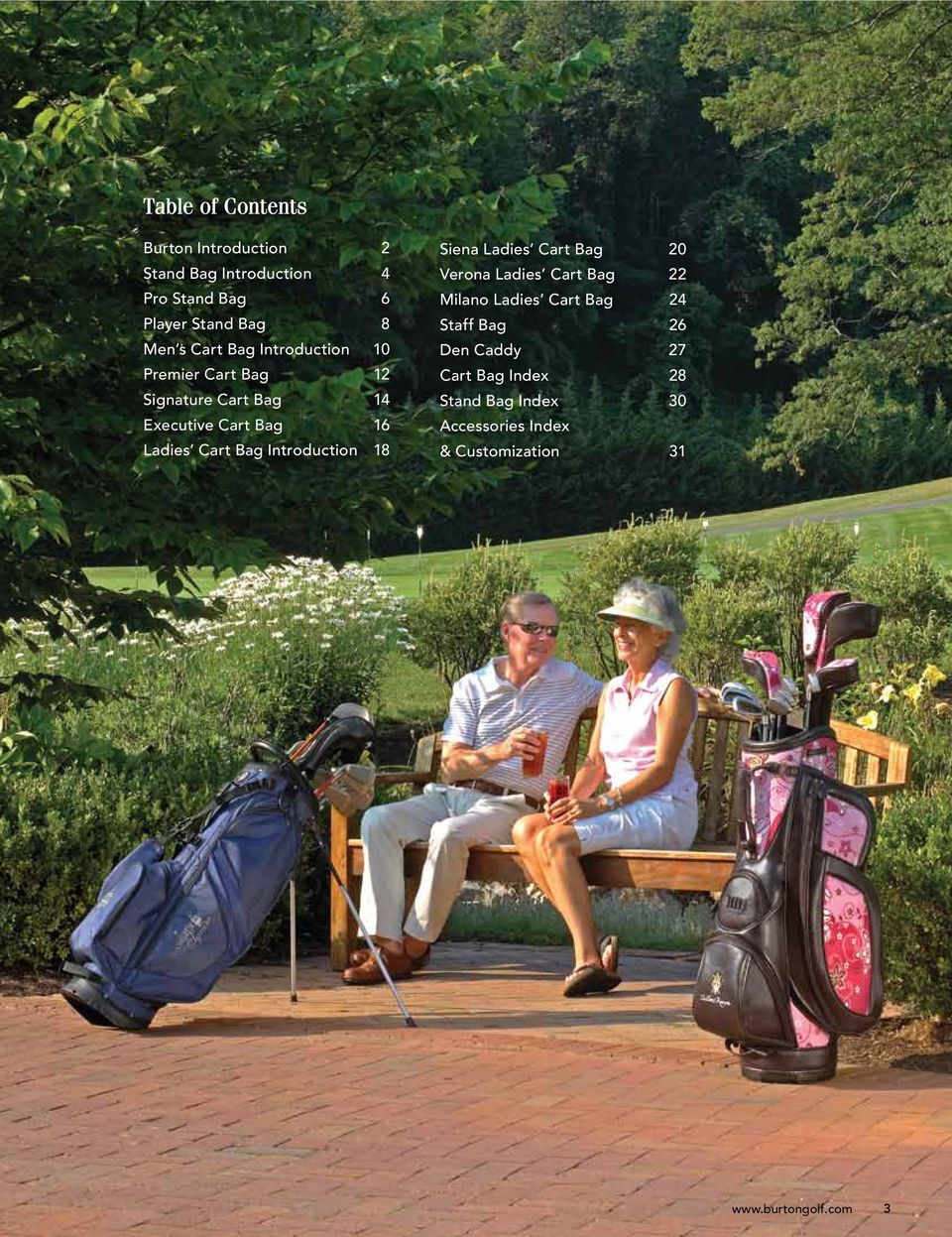 Introduction 18 Siena Ladies Cart Bag 20 Verona Ladies Cart Bag 22 Milano Ladies Cart Bag 24 Staff Bag 26