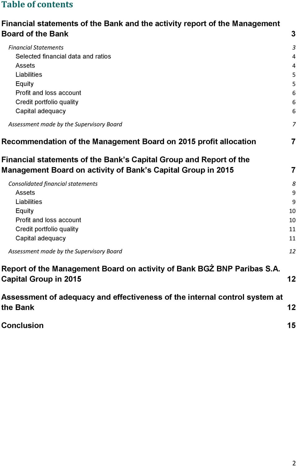 Financial statements of the Bank s Capital Group and Report of the Management Board on activity of Bank s Capital Group in 2015 7 Consolidated financial statements 8 Assets 9 Liabilities 9 Equity 10