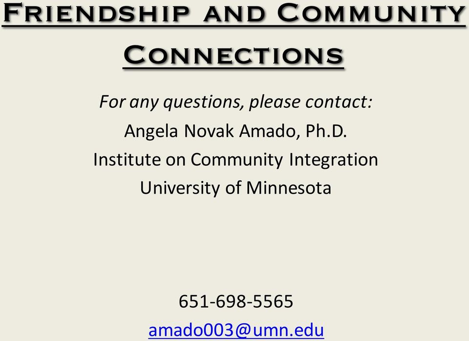 Ph.D. Institute on Community Integration