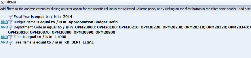 Edit Filters For a more detailed analysis of budgets by Departments we will edit the filters by changing the: Budget Name Department Tree Name Click on the Criteria Tab.