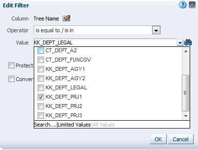 Click OK Department Tree Name - click on the edit button unselect>kk_dept_legal and