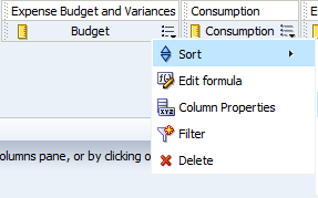 Select the Expense Budget and Variances column Select Column