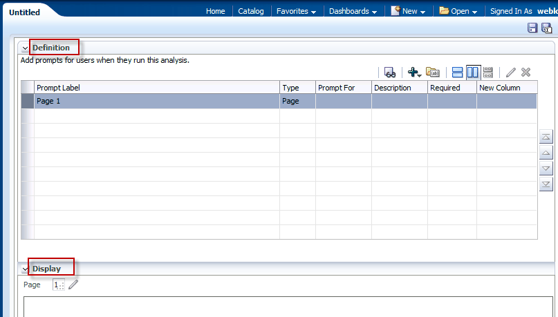 prompts, and variable prompts. The Definition table lets you view high-level information about the prompt's columns.