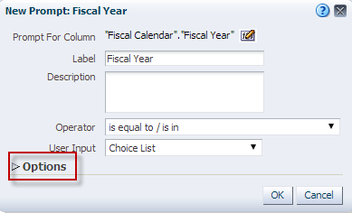 3. Select Fiscal Year from the Time Folder and Click OK. 4. New Prompt Dilog Box appears, Click on the Options to expand 5.