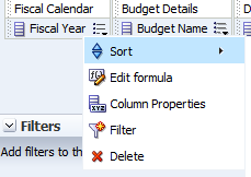 Expand Subject Area: Budget Details > Budget Name Expand Subject Area: Department, then Select > Department Code Expand the Subject Areas: Fund and SID, Select> Fund and SID Add Facts by scrolling