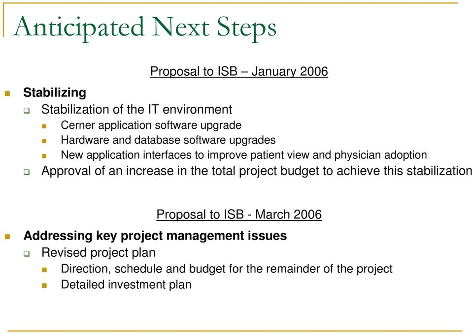 Approval of an increase in the total project budget to achieve this stabilization Proposal to ISB - March 2006 Addressing key