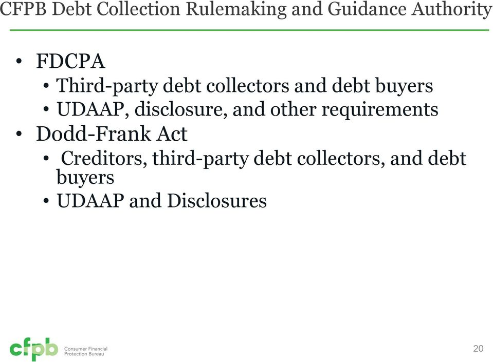 disclosure, and other requirements Dodd-Frank Act Creditors,