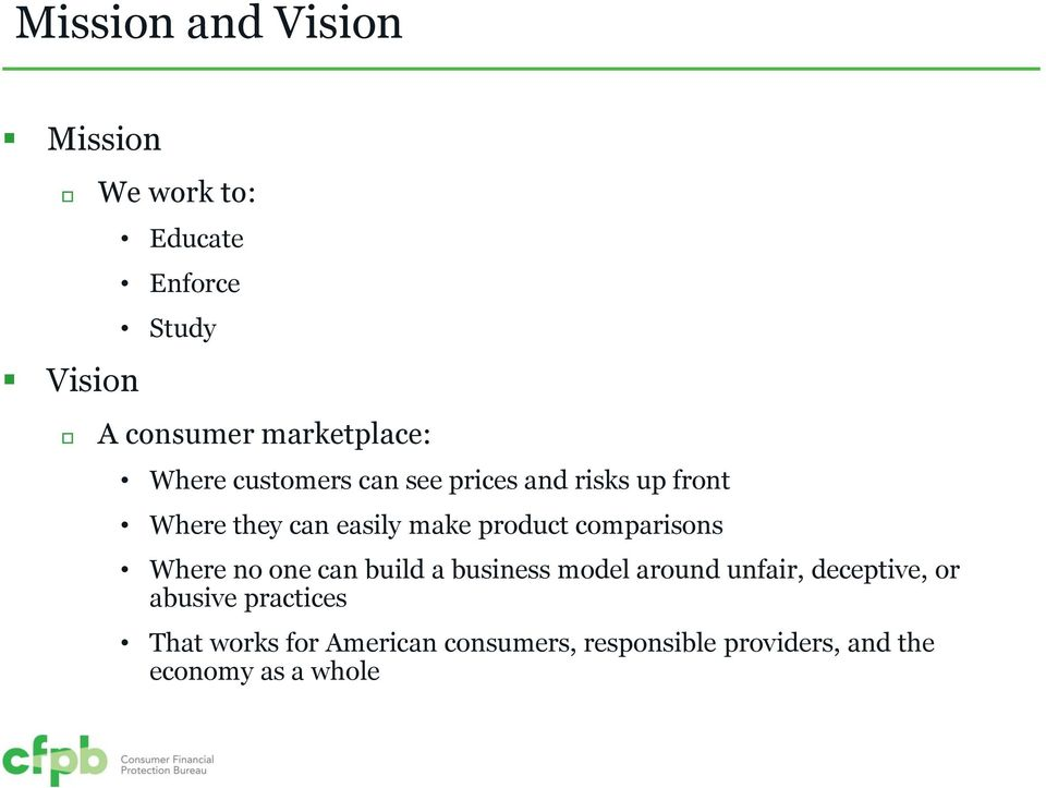 product comparisons Where no one can build a business model around unfair, deceptive, or