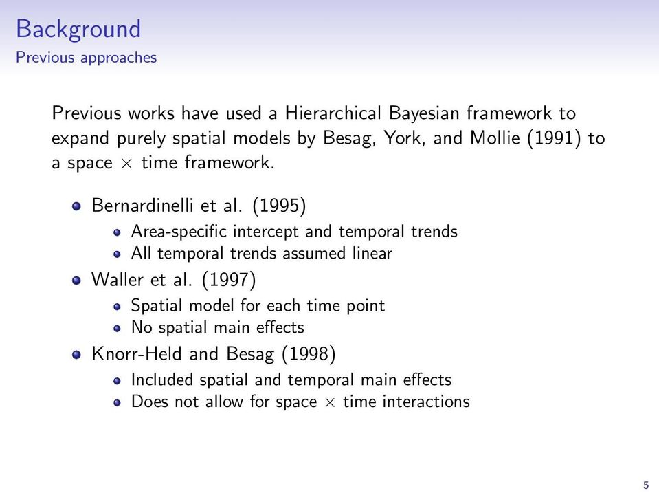 (1995) Area-specific intercept and temporal trends All temporal trends assumed linear Waller et al.