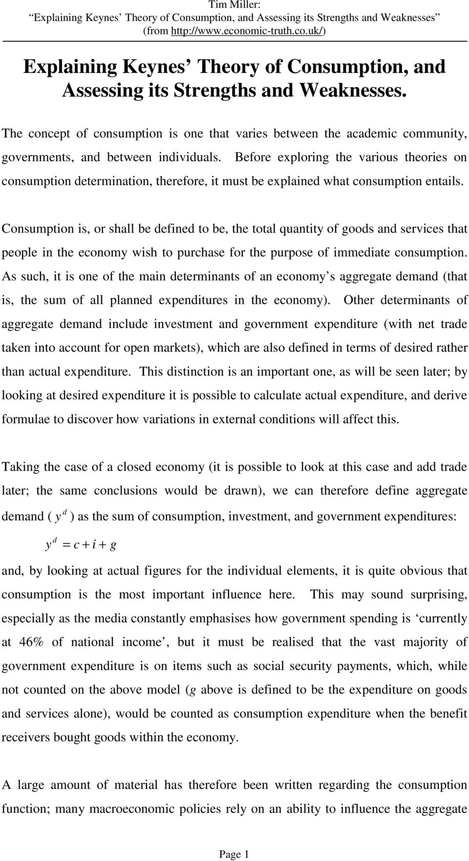 keynesian theory of income and employment pdf