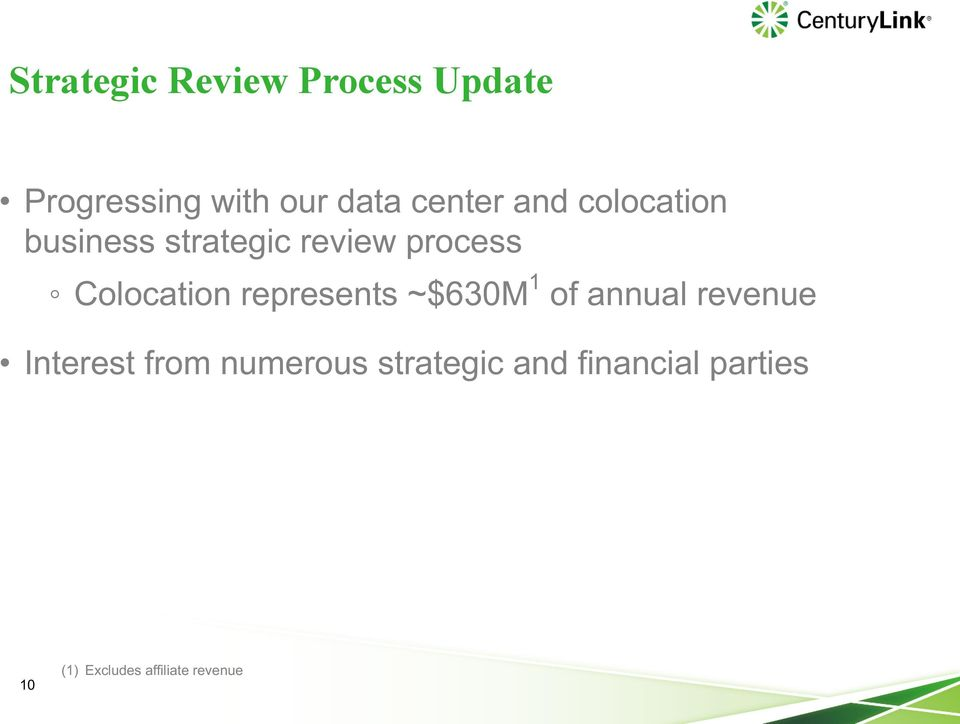 Colocation represents ~$630M 1 of annual revenue Interest from
