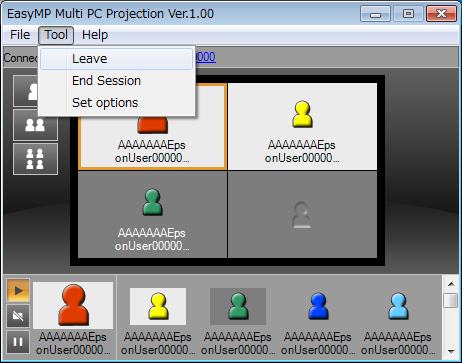 "Operating Procedures 12 E End the meeting. s ""Ending the Meeting"" p.25 Select Leave or End Session from the Tool menu to stop projecting."