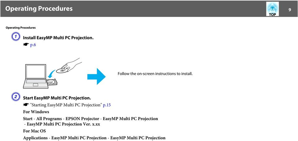"s ""Starting EasyMP Multi PC Projection"" p."