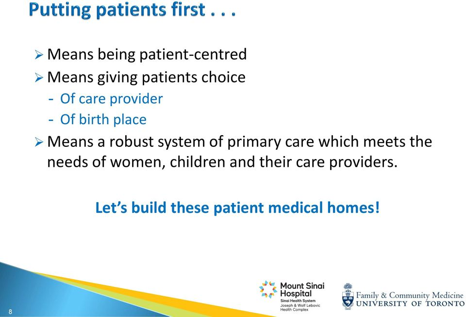 primary care which meets the needs of women, children and