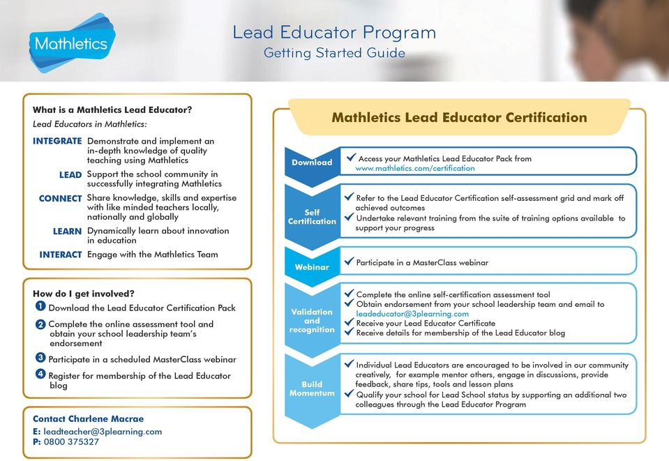 the school community in successfully integrating Mathletics Share knowledge, skills and expertise with like minded teachers locally, nationally and globally Dynamically learn about innovation in