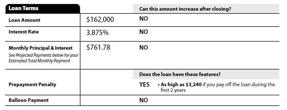 The Loan Estimate (LE) Page 1 Loan Terms Loan Terms Loan Amount: disclosed in whole dollars. Initial Interest Rate: if rate has no decimal then disclosed without (ex.
