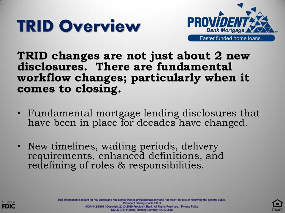 Fundamental mortgage lending disclosures that have been in place for decades have