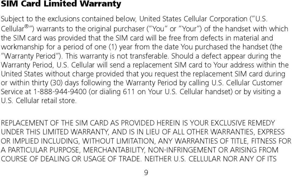 This warranty is not transferable. Sh