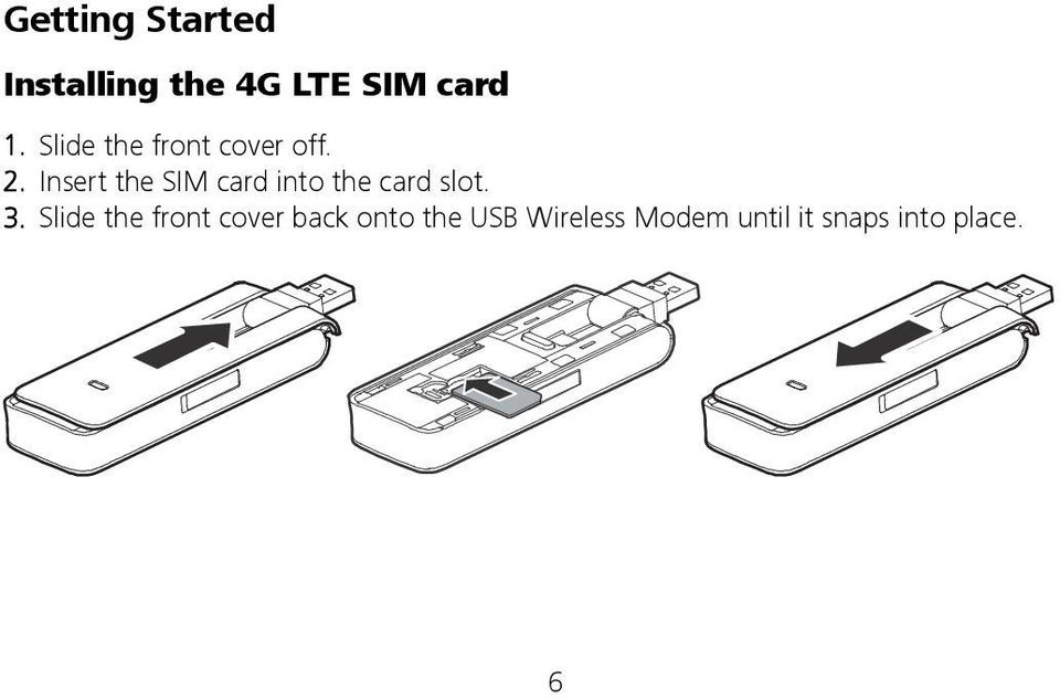 Insert the SIM card into the card slot. 3.