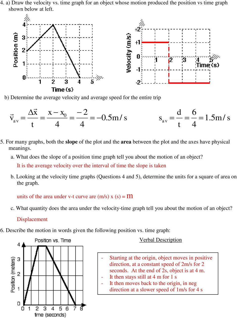 Worksheets Velocity Time Graphs Questions And Answers Pdf
