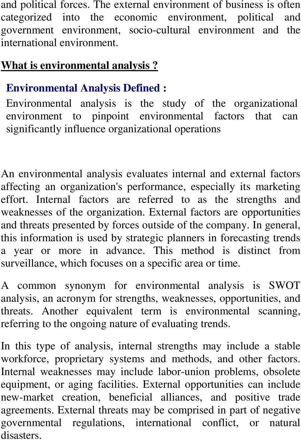 What is environmental analysis?