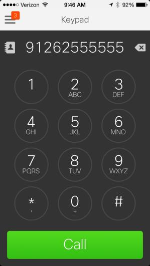 6.8.1 Keypad The keypad option allows you to dial a phone number using the built in Jabber keypad. To access the keypad, tap the (navigation) menu in the top left of the screen, then tap Keypad.