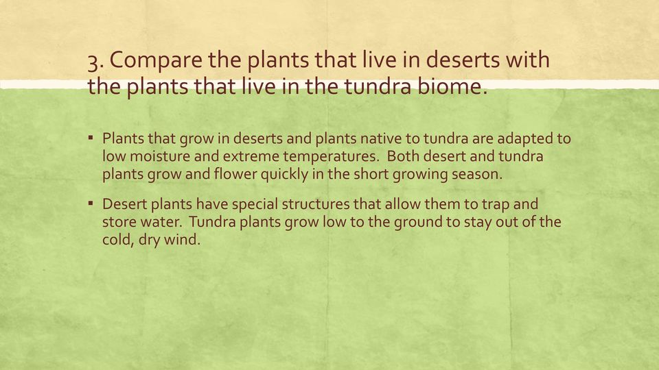 Both desert and tundra plants grow and flower quickly in the short growing season.