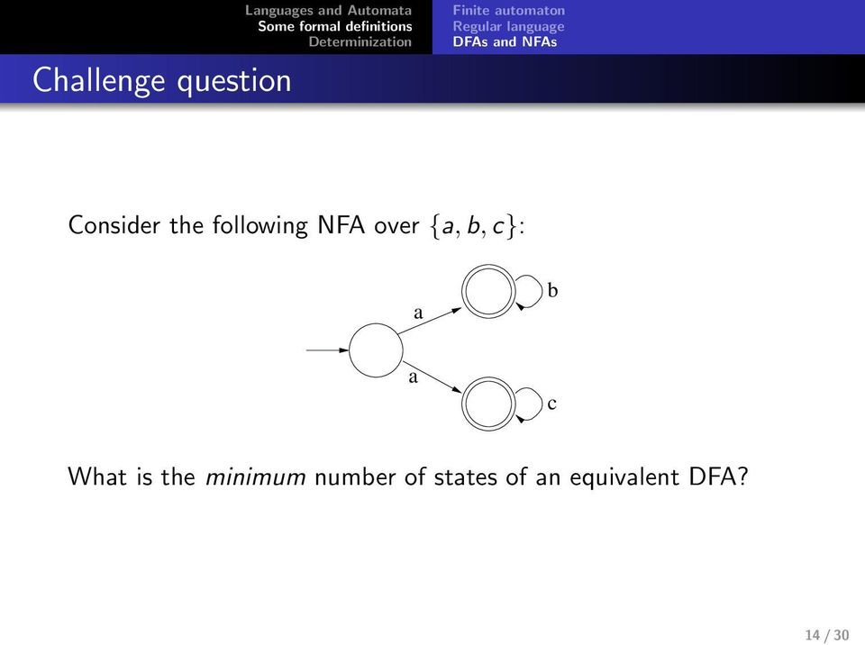 the following NFA over {, b, c}: b c Wht is