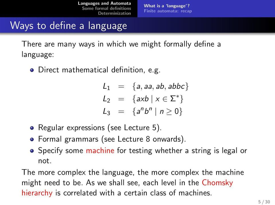 t formlly define lnguge: Direct mthemticl definition, e.g. L 1 = {,, b, bbc} L 2 = {xb x Σ } L 3 = { n b n n 0} Regulr expressions (see Lecture 5).