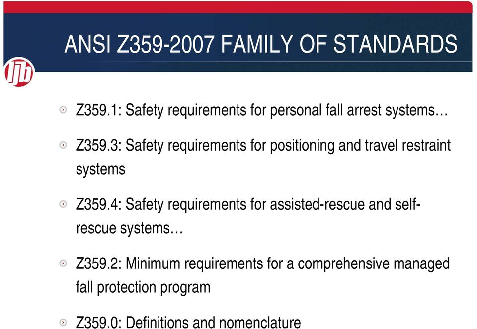 3: Safety requirements for positioning and travel restraint systems Z359.