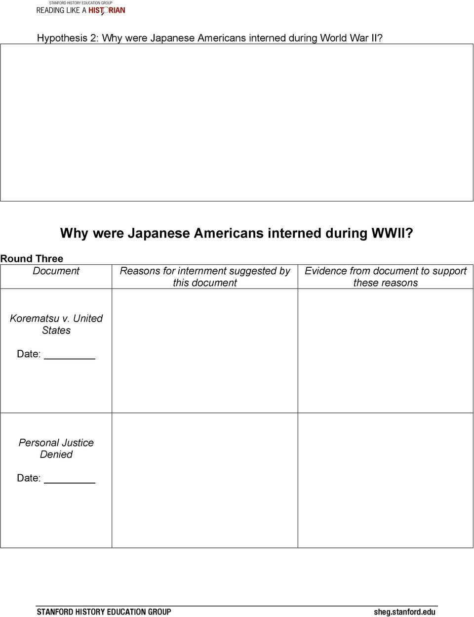 Round Three Document Reasons for internment suggested by this document