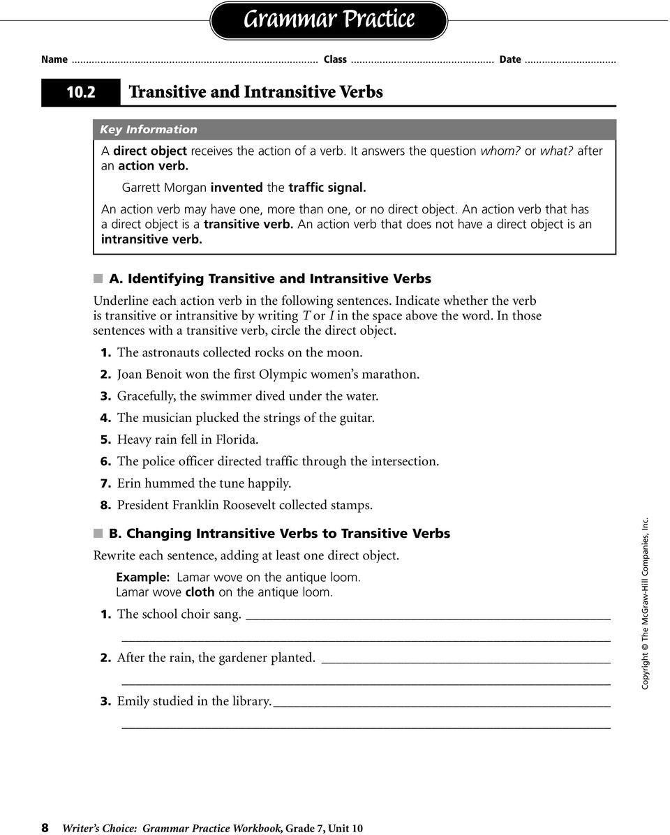 grammar practice workbook pdf an action verb that does not have a direct object is an intransitive verb a