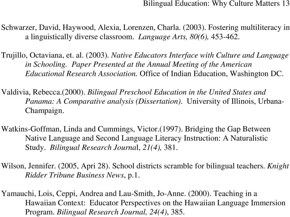 bilingual education term paper