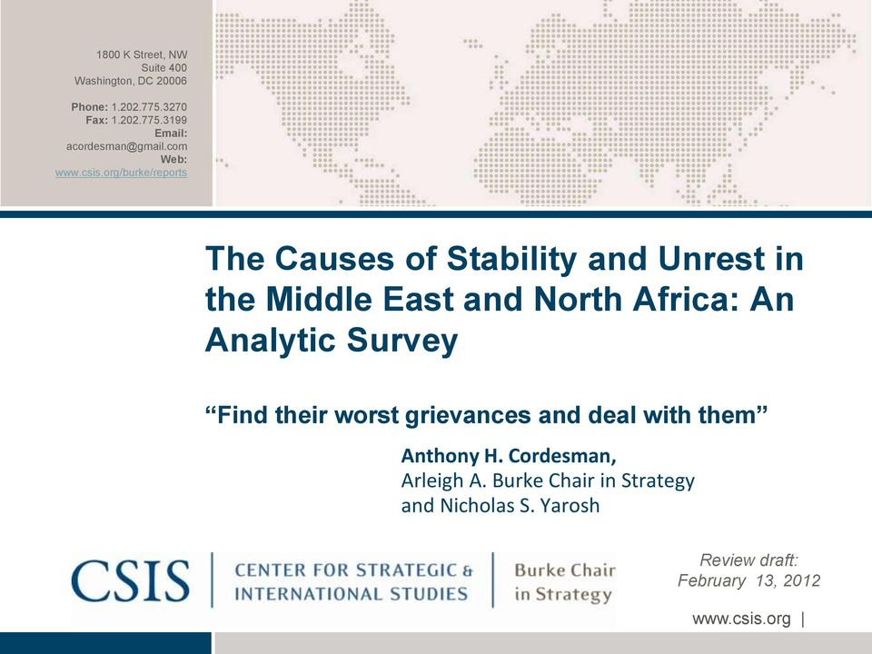 causes of unrest in the middle While many other causes of social unrest have been identi ed, food scarcity or high prices often underlie riots recent unrest in north africa and the middle east.