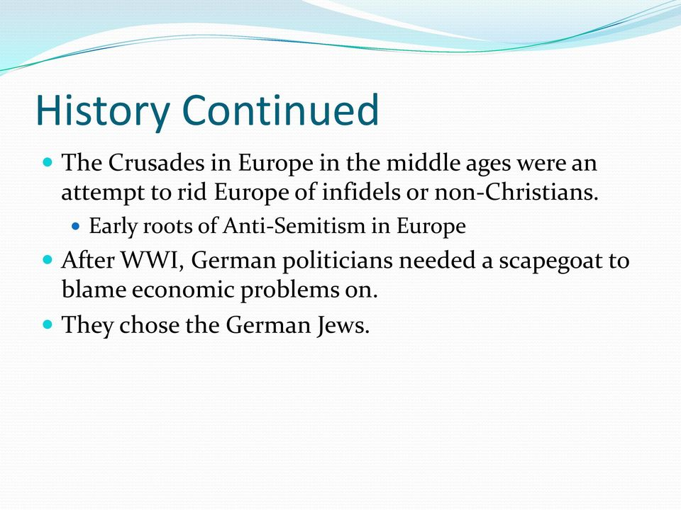 Early roots of Anti-Semitism in Europe After WWI, German