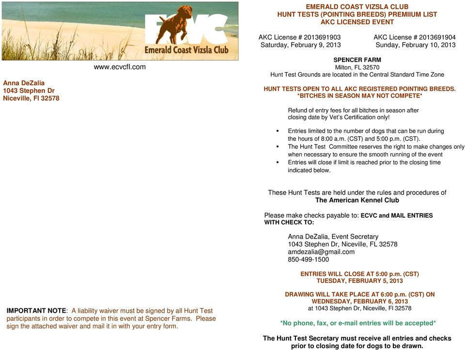EMERALD COAST VIZSLA CLUB HUNT TESTS (POINTING BREEDS