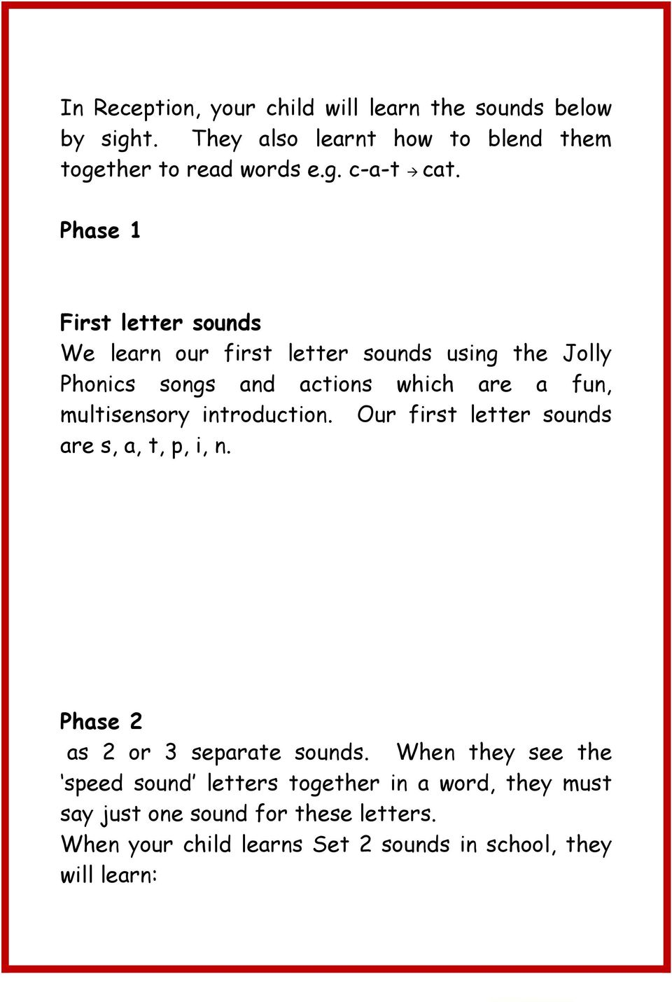 introduction. Our first letter sounds are s, a, t, p, i, n. Phase 2 as 2 or 3 separate sounds.
