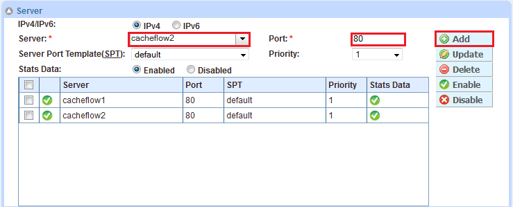 Figure 7: Service group configuration Figure 8: Server configuration Note: If you have other ports such as