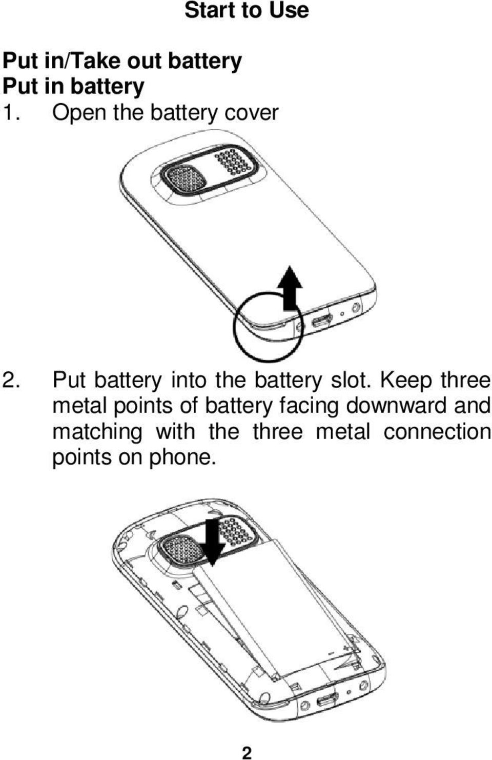 Put battery into the battery slot.